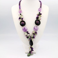 Natural Stone Amethyst Peridot Black Agate With Jade Toggle Clasp Necklace Fashion Women Jewelry