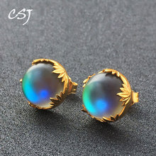 CSJ Aurora Earrings Sterling 925 Silver Halo Crystal Color Changes for Woman Femme Lady Party Elegant Fine Jewelry Gift