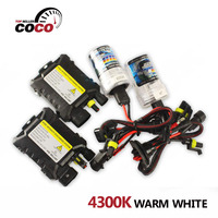 1Set DC 4300K Warm White 12V 35W Slim Ballast Xenon HID Kit Light Bulb Car Headlight