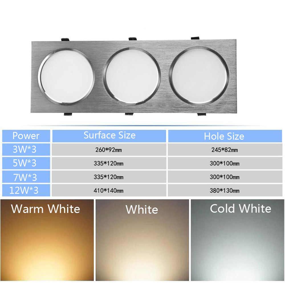 Светодиодное встроенное освещение с двойной точечной подсветкой 3 Вт 5 Вт 7 Вт 12 Вт Анти-противотуманная решетка свет квадратный потолочный светильник прожектор матовый светильник