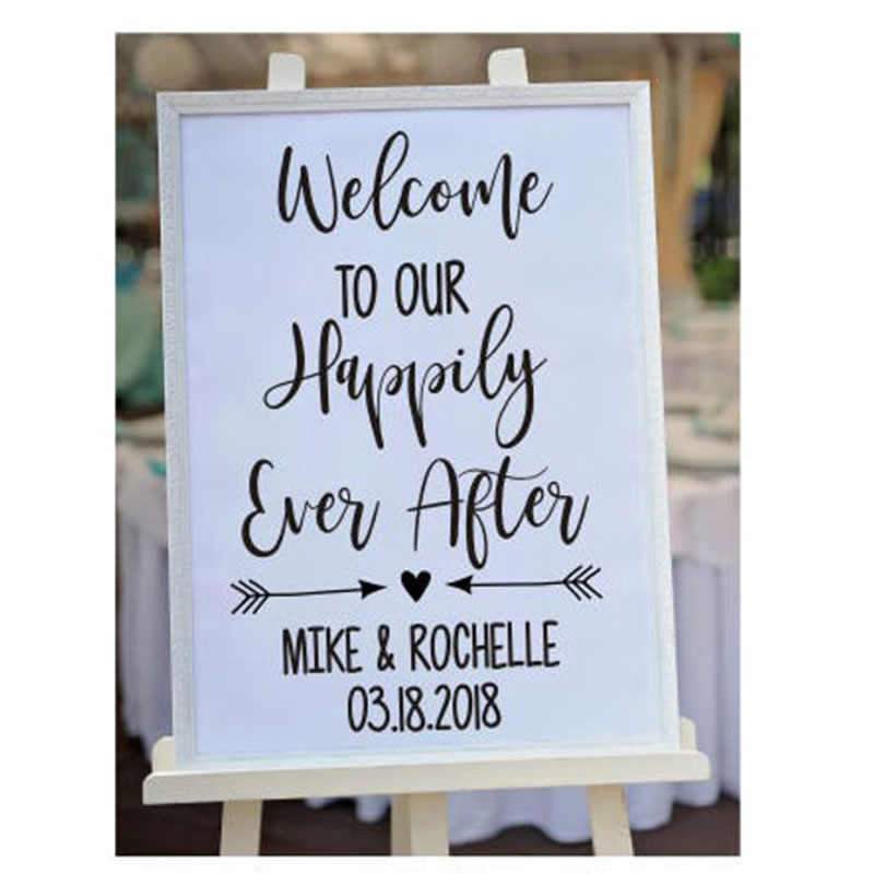 Welcome Wedding Decal Our Happily Ever After Personalized Wedding Decal Bridal Shower Couples Lettering For Chalkboard L837 Wall Stickers Aliexpress