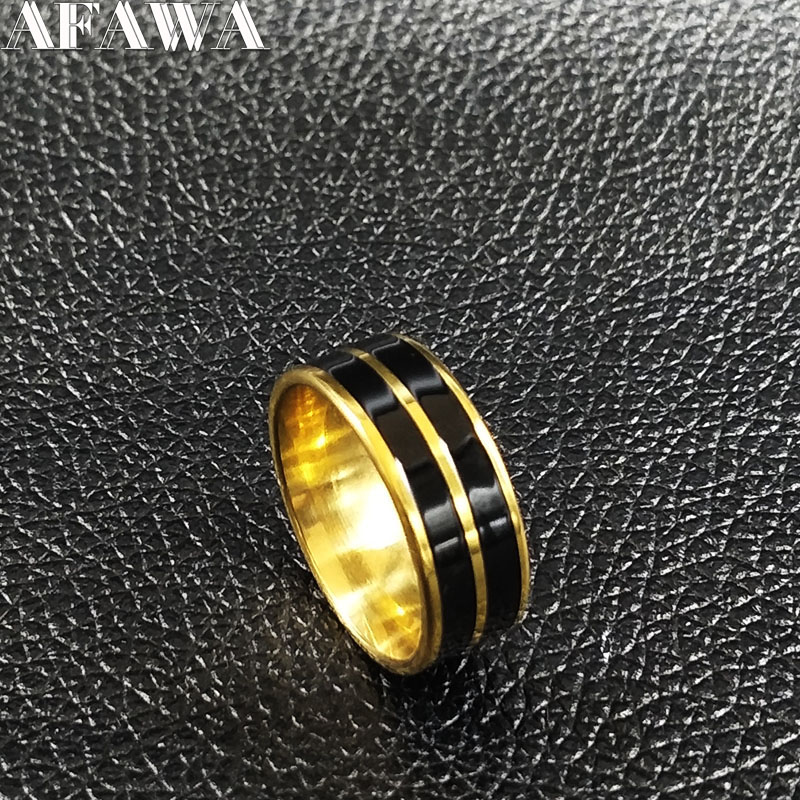 2018 Fashion Black Enamel Stainless Steel Rings Jewelry Gold Color Rings for Women or Men Jewellery anillos para hombre R612222
