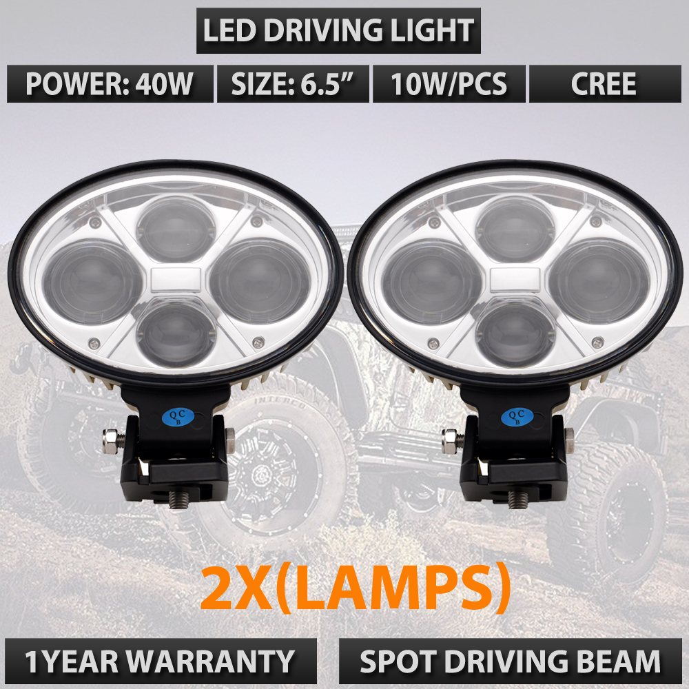 Pair 6.5 inch 40W 10W high power led offroad lights oval led work driving light used for external lights car lights free ship lyc 6000k led daylight for citroen c4 for nissan led headlights 12v car led lights ip 68 chips offroad work light 40w