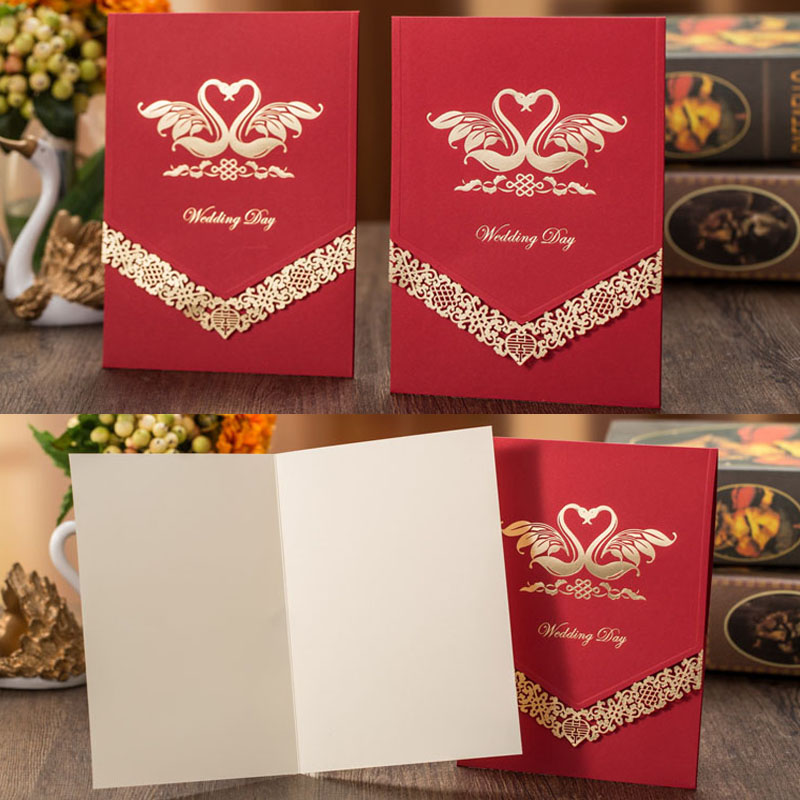 50pcs Swan Pattern Luxurious Marriage Wedding Invitations Cards Greeting Card 3D Card Laser Cut Postcard Event Party Supplies 1pcs sample laser cut bride and groom marriage wedding invitations cards greeting cards 3d cards postcard event party supplies