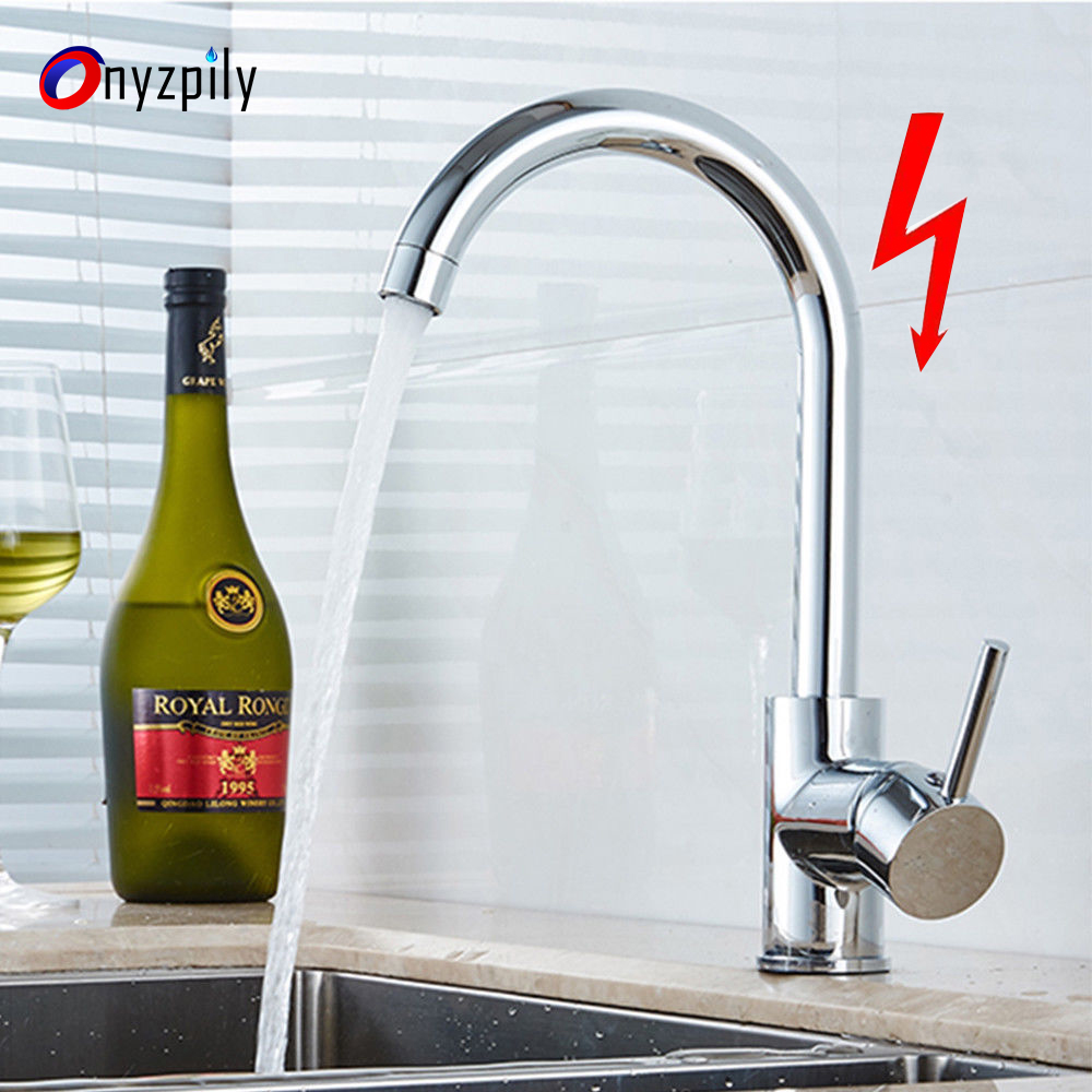 Chrome Kitchen Faucet  Brass Hot and Cold Water 360 blender Low Pressure Single Hole Sink Tap Modern