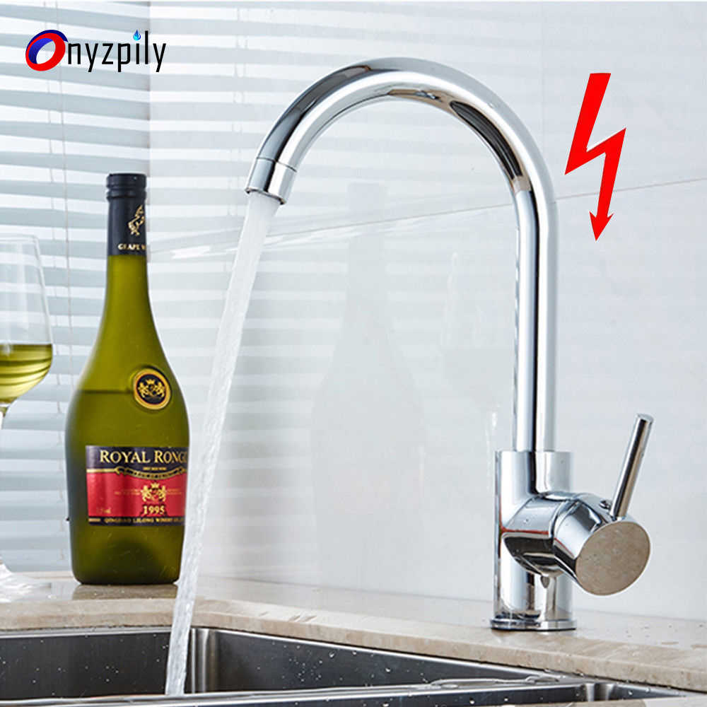 Chrome Kitchen Faucet Brass Hot And Cold Water 360 Blender Low Pressure Single Hole Sink Tap Modern Kitchen Faucets Aliexpress