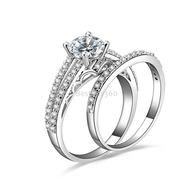 1 Carat 4 Prongs 925 Sterling Silver Sona Simulated Diamond Wedding
