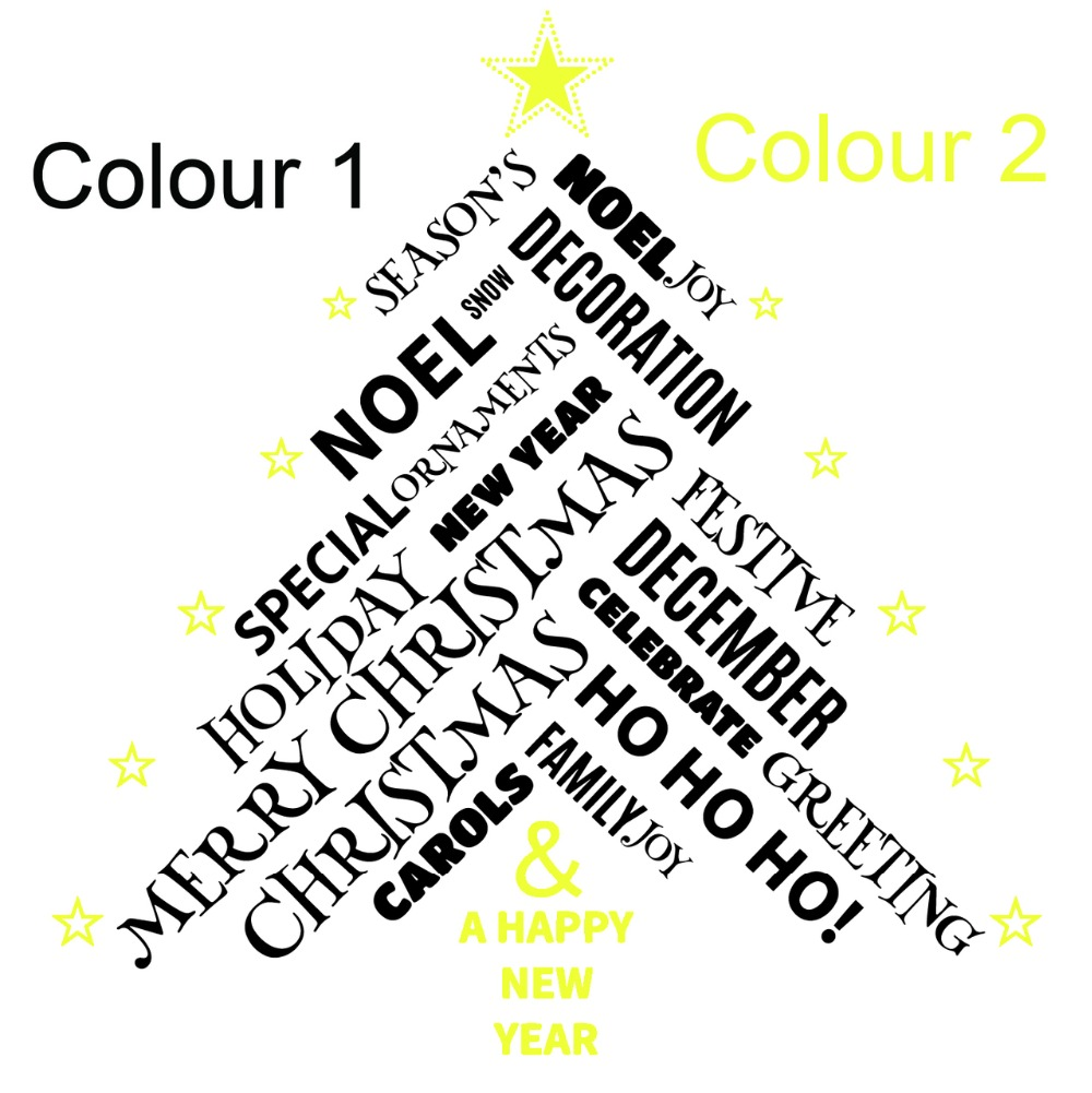Two colour Christmas Tree Quotes Christmasl Wall Sticker Mural Wall ...