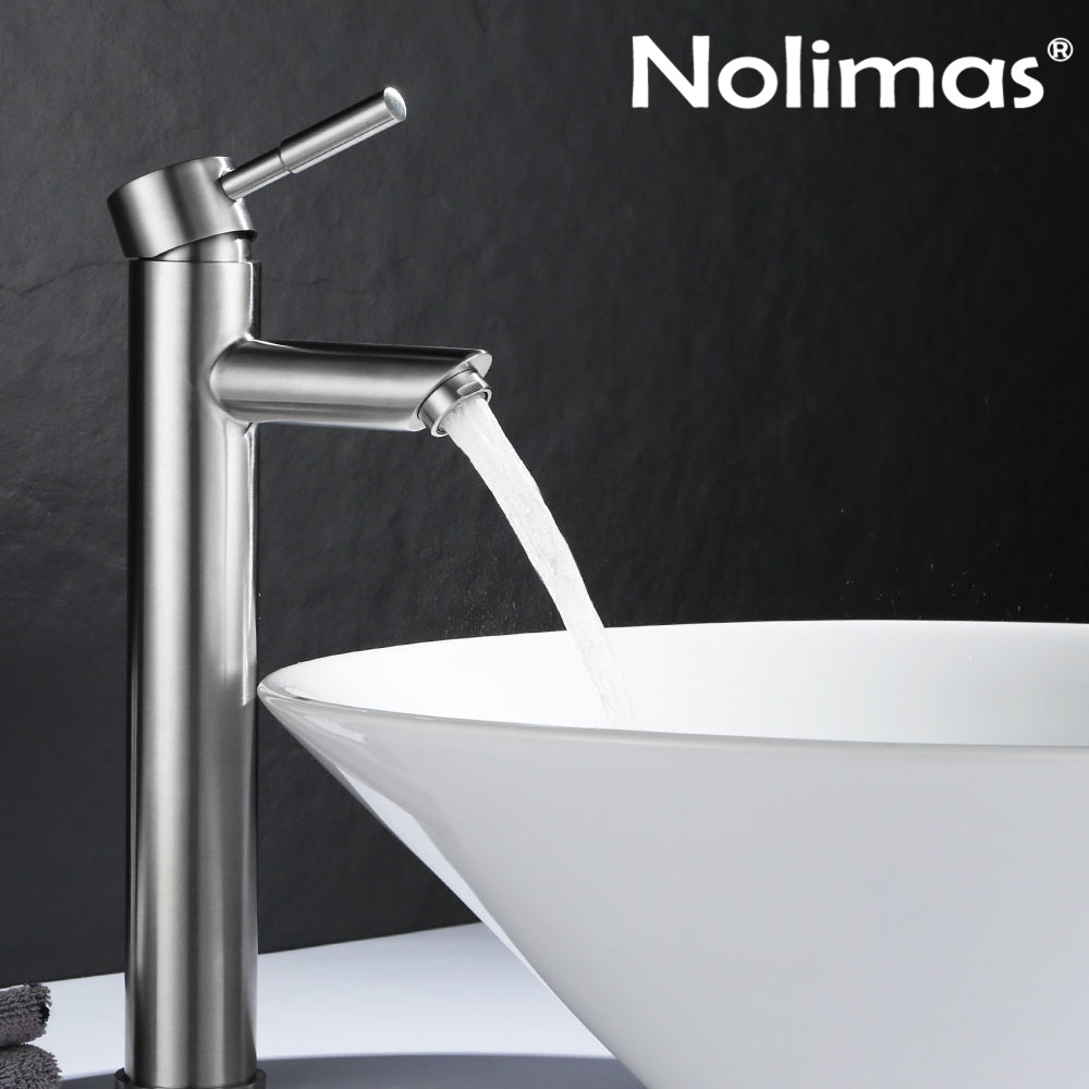 купить Basin Faucet Brushed SUS 304 Stainless Steel Heightening Single Hole Bathroom Basin Tap Cold Hot Water Tap Mixer Deck Mount по цене 2855.22 рублей