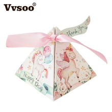 10pcs Cartoon Unicorn/ Flamingos Candy Boxes Wedding Favors Bomboniera Party Gift Box paper package Rainbow Horse Bag