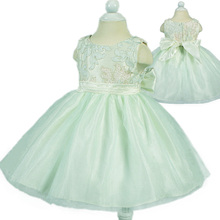 Free Shipping Infant Dress Green Lace Top newborn Bebe Gowns Baby 1 Year Birthday Toddler Princess Dresses little girl clothes