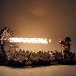 Bola de Dragón Z Son Goku lámpara de luz Led Kamehameha ataque Anime Bola de Dragón Z Goku Super Saiyan DBZ Led luces de noche