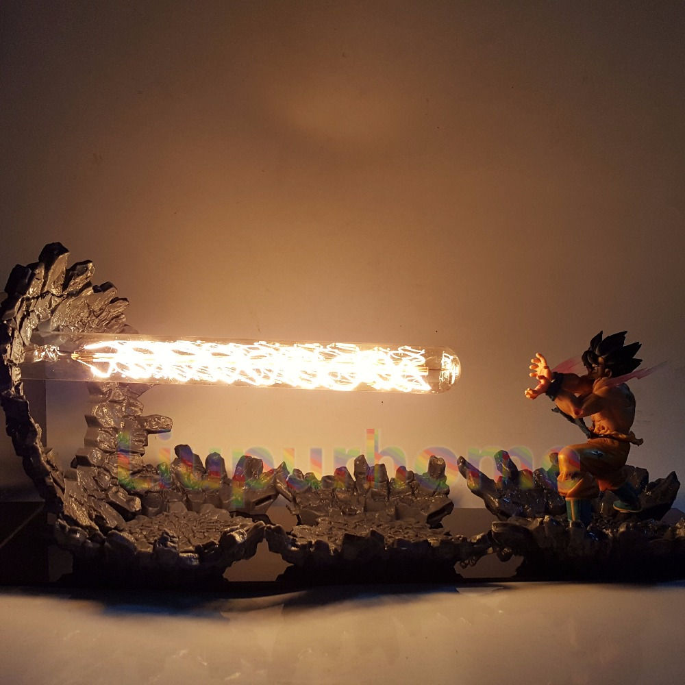 Dragon Ball Z Son Goku Led Light Lamp Kamehameha Attack Anime Dragon Ball Z Goku Super Saiyan DBZ Led Night Lights anime dragon ball z golden shenron crystal ball led set dragon ball super son goku dbz led lamp night lights xmas gift