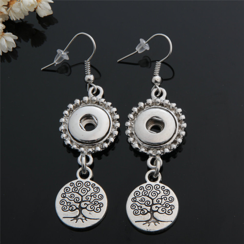 Vintage Antique Silver Life Tree Metal 12mm Snap Buttons Earrings Women Jewelry