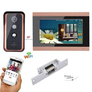 Image 1 - 7 cal przewodowy Wifi wideo telefon drzwi intercom system wprowadzania z elektryczne strajk blokada