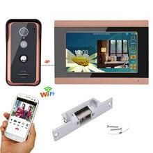 7 inch Wifi Wired וידאו דלת טלפון פעמון אינטרקום מערכת כניסת עם Strike מנעול חשמלי