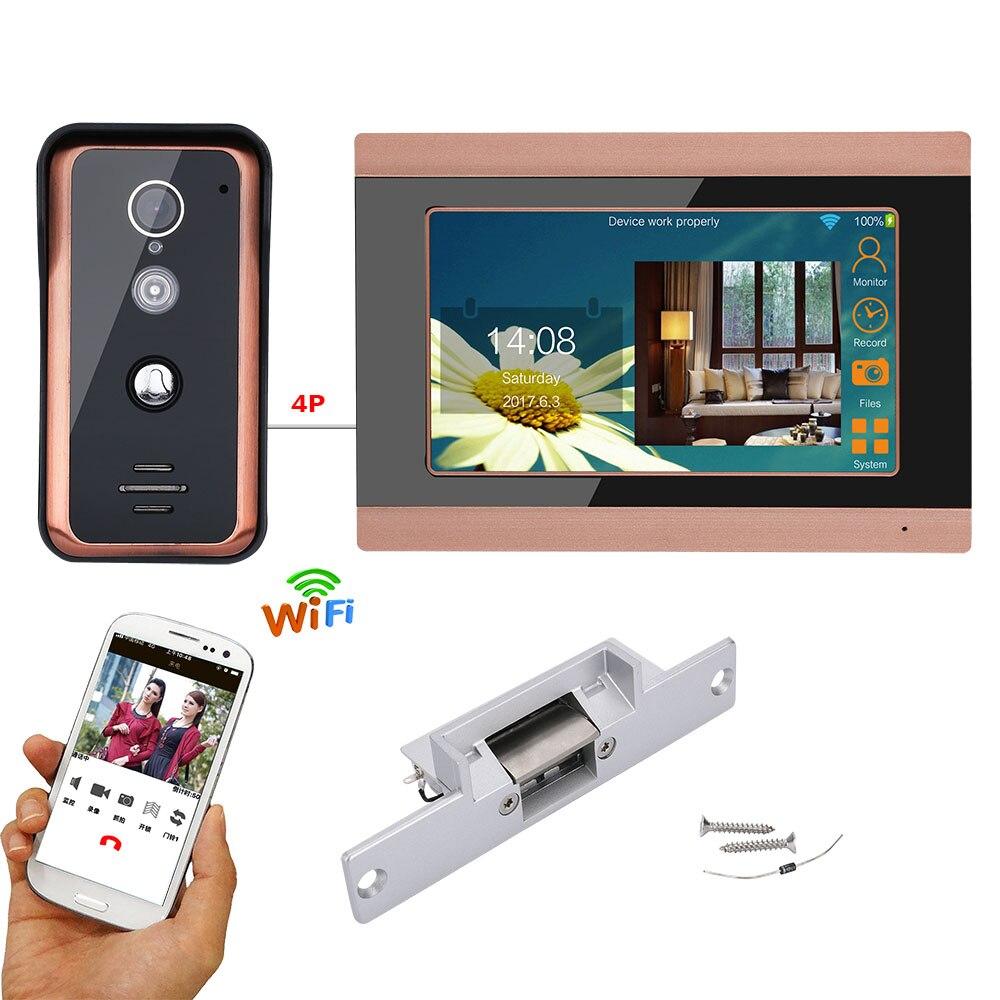 Système d'entrée d'interphone de sonnette de téléphone de porte vidéo Wifi filaire de 7 pouces avec serrure électrique