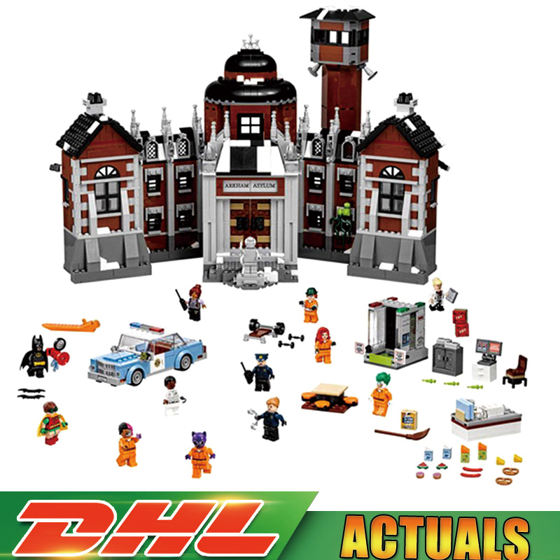 Lepin 07055 1628pcs New Batman Movie THe Arkham`s Lunatic Asylum Set Building Blocks Bricks Toys LegoINGlys as gift 70912 lepin 07055 batman series arkham asylum model building block compatible legoe 1628pcs toys for children