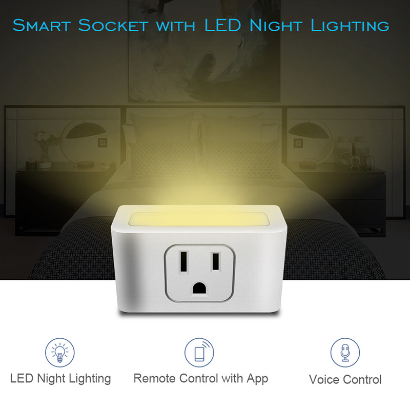 Wifi Smart Plug US Plug Socket With LED Night Light Wifi Smart Wireless Outlet Remote Control For Amazon Alexa Support APP-in Smart Power Socket ...