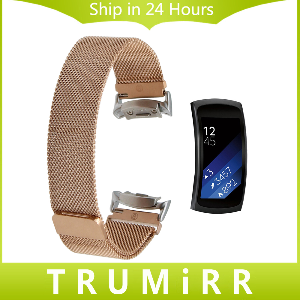 Milanese Watch Band for Samsung Gear Fit 2 SM-R360 Stainless Steel Strap Magnetic Clasp Belt Wrist Bracelet Black Blue Rose Gold 2017 new stainless steel bracelet strap watch band milanese magnetic with connector adapter for samsung gear s2 watch band