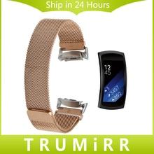 Milanese Montre Bande pour Samsung Gear Fit 2 SM-R360 Inoxydable Bracelet en acier Magnétique Fermoir Ceinture Poignet Bracelet Noir Bleu Rose or