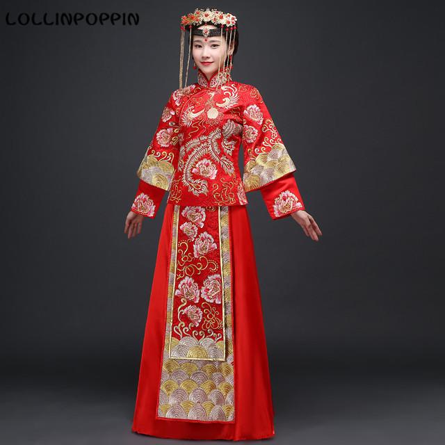 Mulheres Chinês Tradicional Do Casamento Terno de Saia Floral & Phoenix Bordado Noiva Trajes (Top + Saia) Frete Grátis