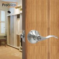 Probrico Privacy Keyless Door Lock Bathroom Stainless Steel Satin Nickel Door Knob Door Handle For Interior Door DL12061SNBK