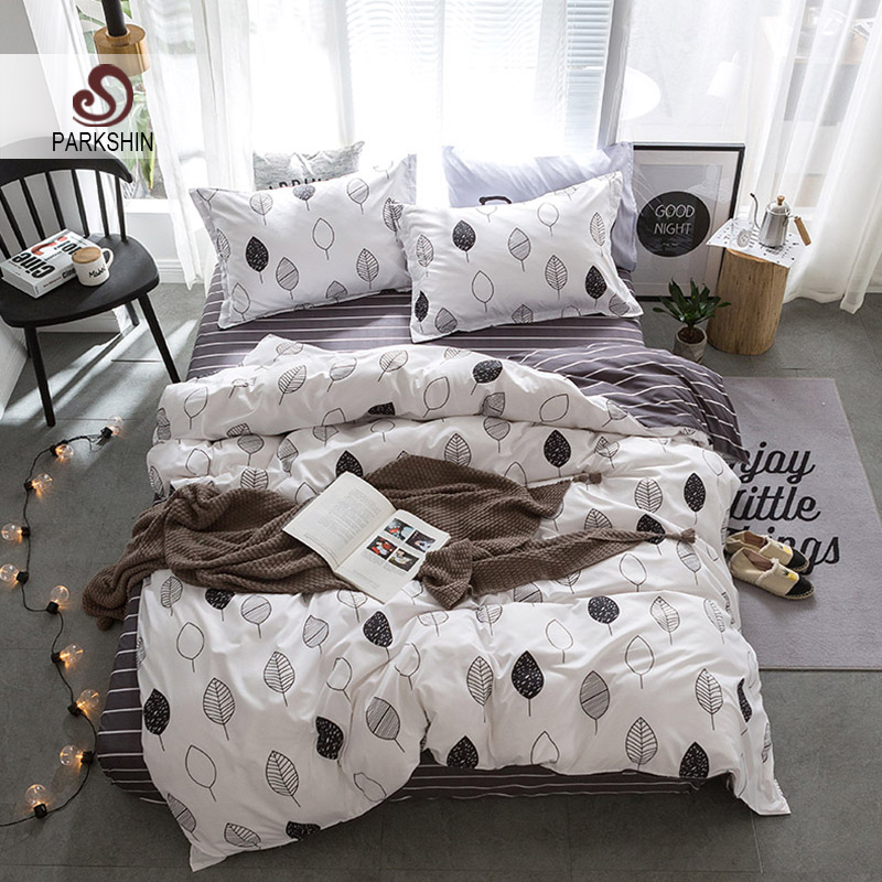Parkshin European Style Bedclothes Leaf Pattern Bedspread Stripe Bed Sheet Double Two Pillowcases Nordic Duvet Cover Bedding Set