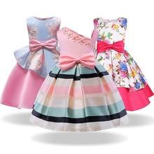 Baby Girl Party Dress Kids Stripe Sleeveless Dresses For Toddler Girl Bown Dresses Birthday Wedding Dress for 3 4 6 8 10 Years bbwowlin pink baby girl dress for 0 6 years 1 year birthday christmas gift flower girl dresses 80100