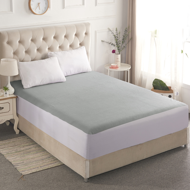 Light Gray Cotton 1Pcs Smooth Waterproof Mattress For Box Spring Mattress Cover Bed Mat BedBug Wetting Proof And Hypoallergenic