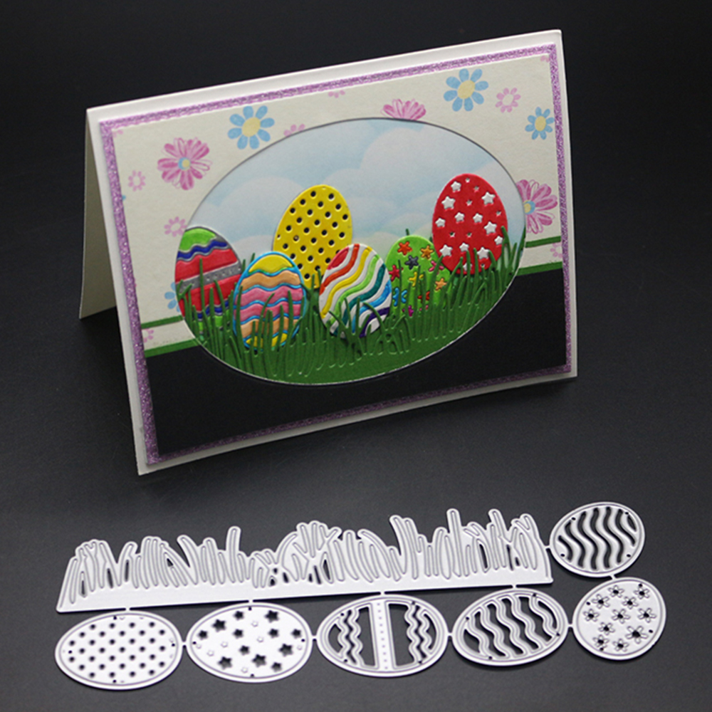 Easter Eggs and Grass Metal Cut Cutting Dies Mold Tool for Scrapbooking Scrapbook Card Making Album Embossing Stencil Craft Die Cuts