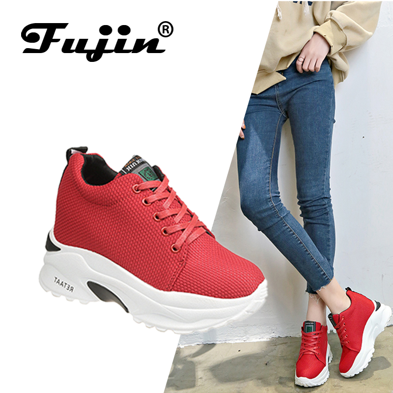 FUJIN Brand Women Flats Casual Sneakers Spring Autumn 2019 Fashion Shoes Lace Up Female for