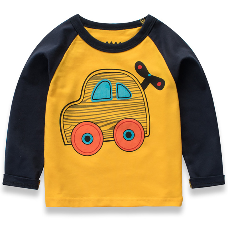 Baby Boys T shirt Children Clothing 2018 Car Cartoon Pattern Clothes Boys Long Sleeve Tops Kids T-shirts for Boy Sweatshirt цена и фото