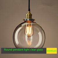 Retro Edison chandelier lamp clear glass chandelier E27 bar hanging lamp creative clothing shop lighting AC110 240V