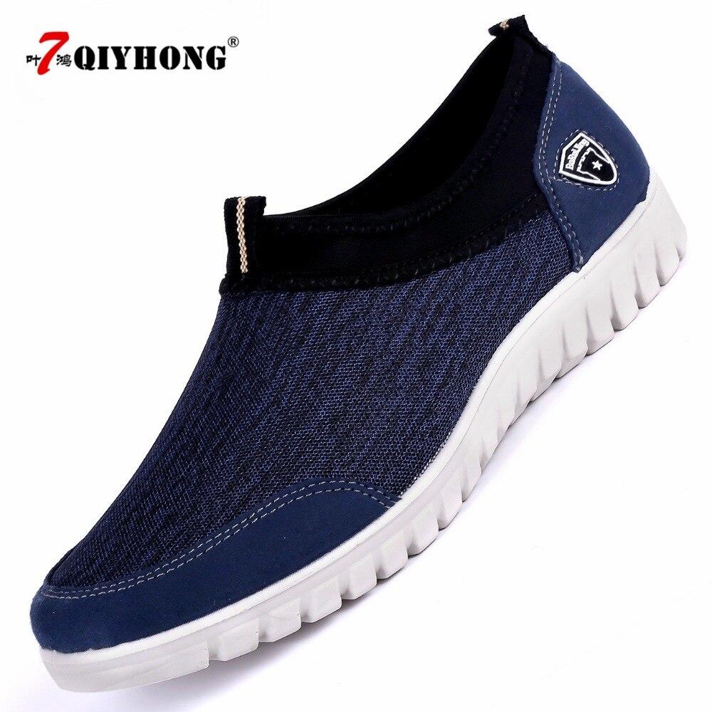 QIYHONG Men's Casual Shoes Sneakers Summer Mesh Breathable Comfortable Men Shoes Loafers footwears Slipon Walking Big Size 38-48