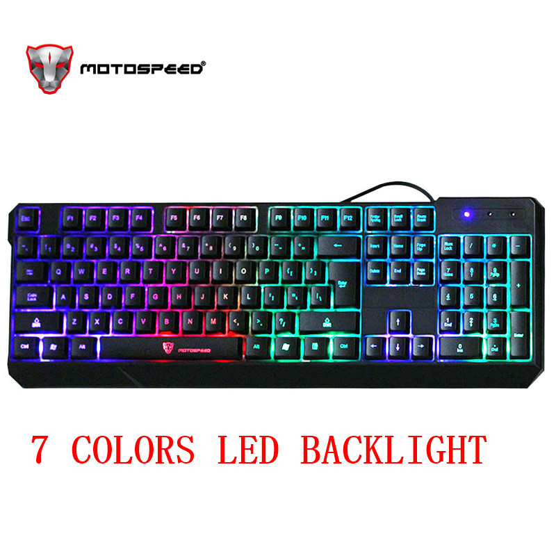 MotoSpeed K70 104Keys USB Wired 7 Color Colorful LED Backlit Computer Gaming Keyboard Teclado USB Esport Keyboard for PC desktop-in Keyboards from Computer & Office