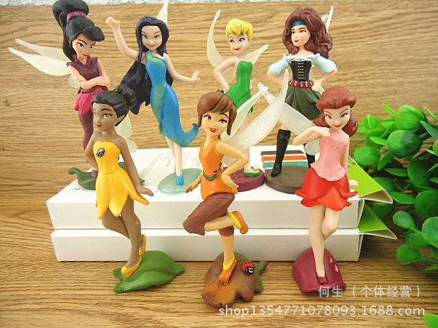 7pcs Lot Anime Tinkerbell Flying Fairy Collectibles Dolls Set