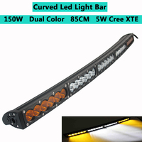 Dual Color Curved LED Light Bar 33 34inch 150W Off road Light Bar White Amber Yellow Spot Flood Combo Beam LED Work Diving Light