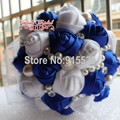 Lujo Sapphire Blue Ribbon ramo de la boda decorado alto grado diamante perla flor de la cinta novia que sostiene las flores PH13
