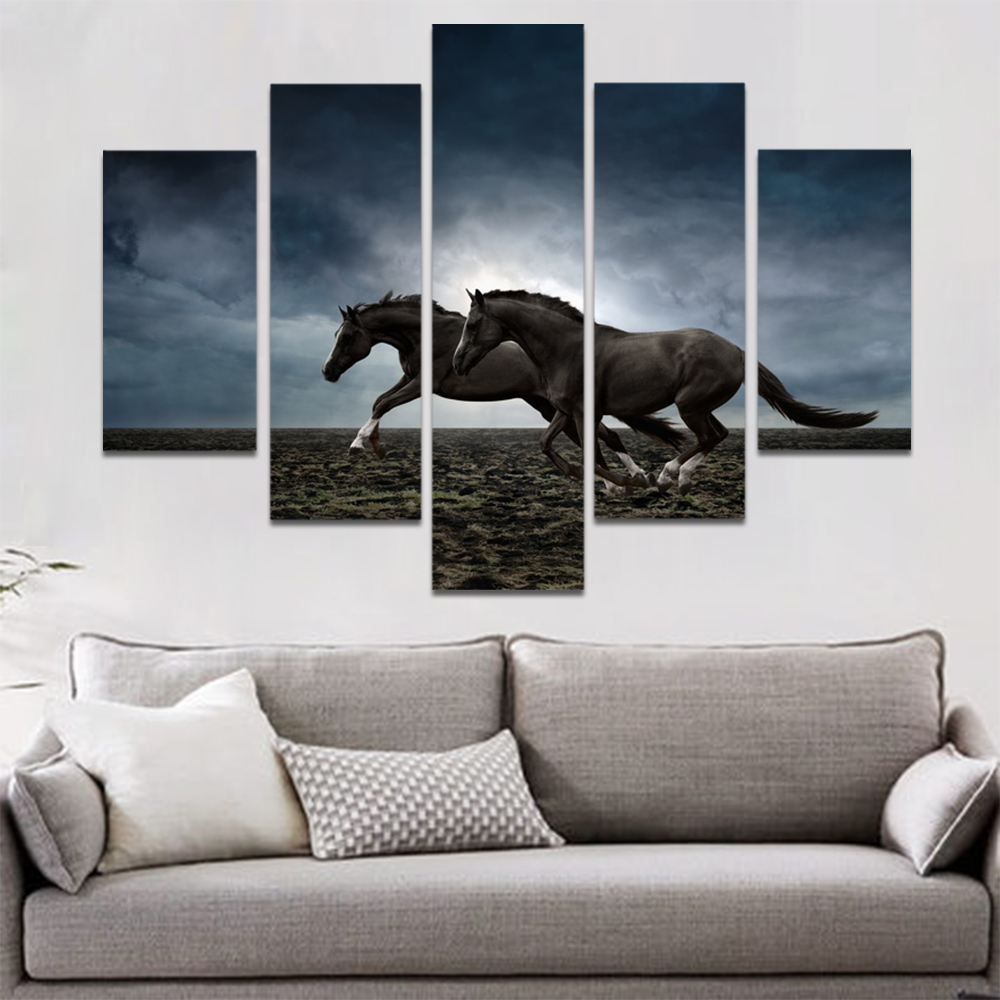 Unframed Canvas Animal Painting Dim Sky Brown Horses Picture Prints Wall Picture For Living Room Wall Art Decoration