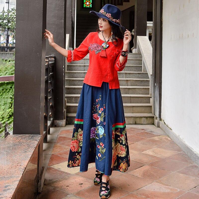 Vintage Ethnic Skirt Suit Women asymmetric Mesh Long Skirts and Top Set XXL