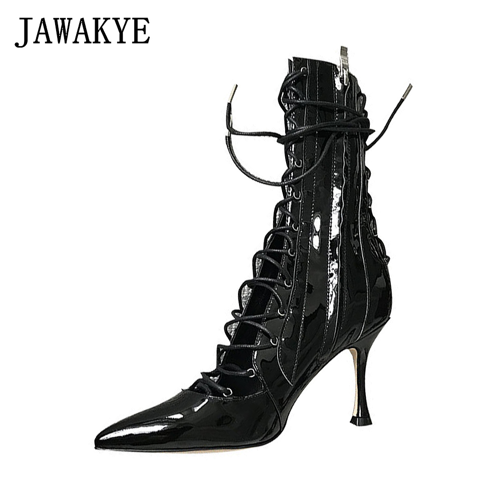 New Summer Boots Women Gladiator Sandals Pointed toe patent leather Cut outs lace up High Heel boots Pumps Lace Up Ankle boots new summer boots women gladiator sandals pointed toe patent leather cut outs lace up high heel boots pumps lace up ankle boots