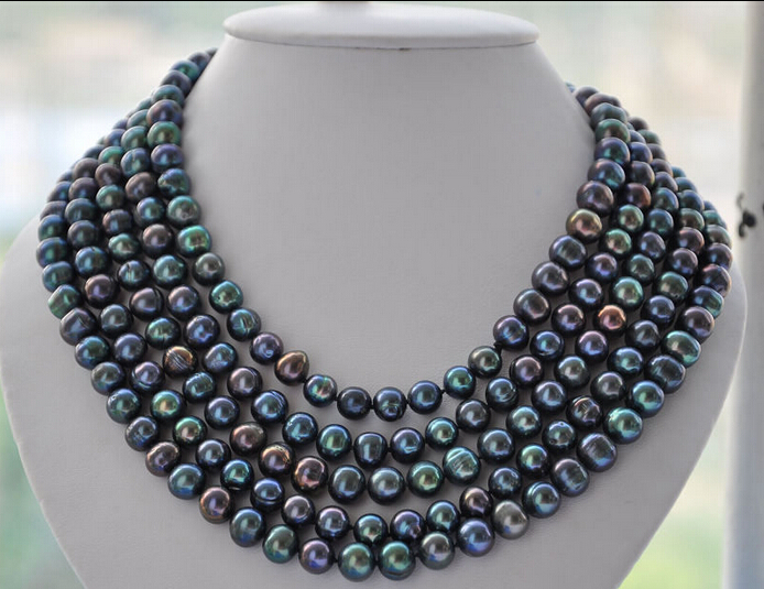 A LONG 10mm round PEACOCK BLACK Freshwater pearl necklace 100inch