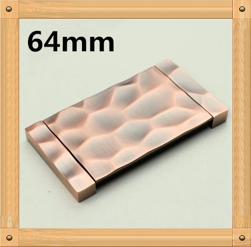Length 72mm Hole Pitch 64mm Zinc Alloy Kitchen Furniture Handle bedroom drawer handle Red copper color