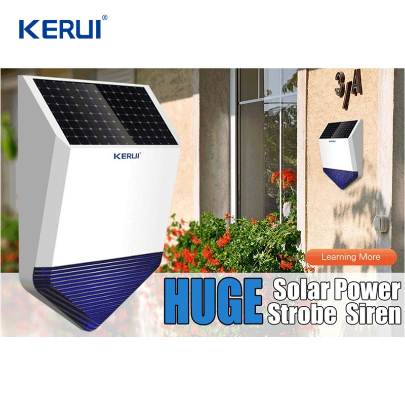 KERUI Wireless Outdoor Solar Powered Strobe Siren Home Security Acousto-Optic Alarm Flash Sound Light Siren For WIFI Gsm Alarm high quality solar spot alarm system kit 433mhz wireless outdoor siren with bright flash to make powerful warning