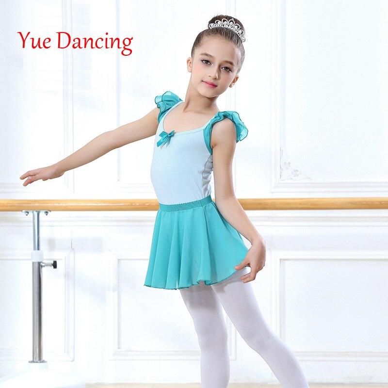 Chiffon Short Sleeved Ballet Dress Girls One-piece Gymnastics Leotards Chilldren Dance Clothes Ballerina Kids Costume Dancewear