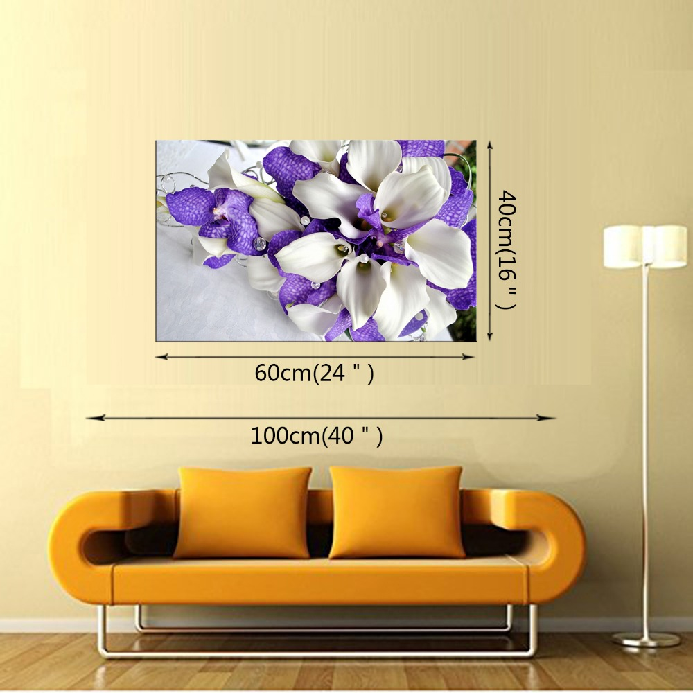 1 panel free shipping HD New Purple Flower Wall Art Painting Prints ...