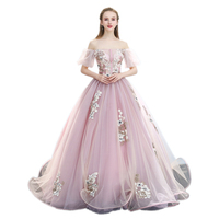 H Light Pink Bubble Sleeve Luxury Medieval Dress Ball Gown Princess Medieval Renaissance Gown Queen Cosplay Victorian Belle Ball