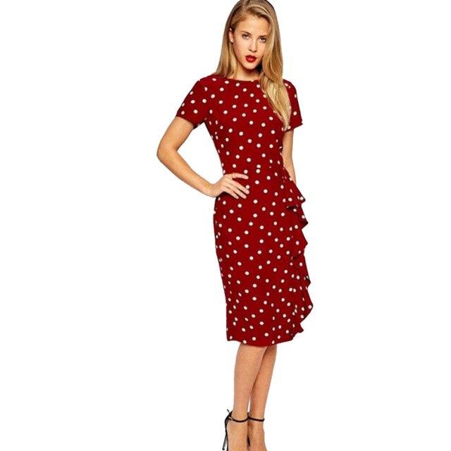 9c023c15ba1 Wendywu Brief Beautiful New White Dot Short Sleeve Lacework Red Split Midi  Bodycon Dress