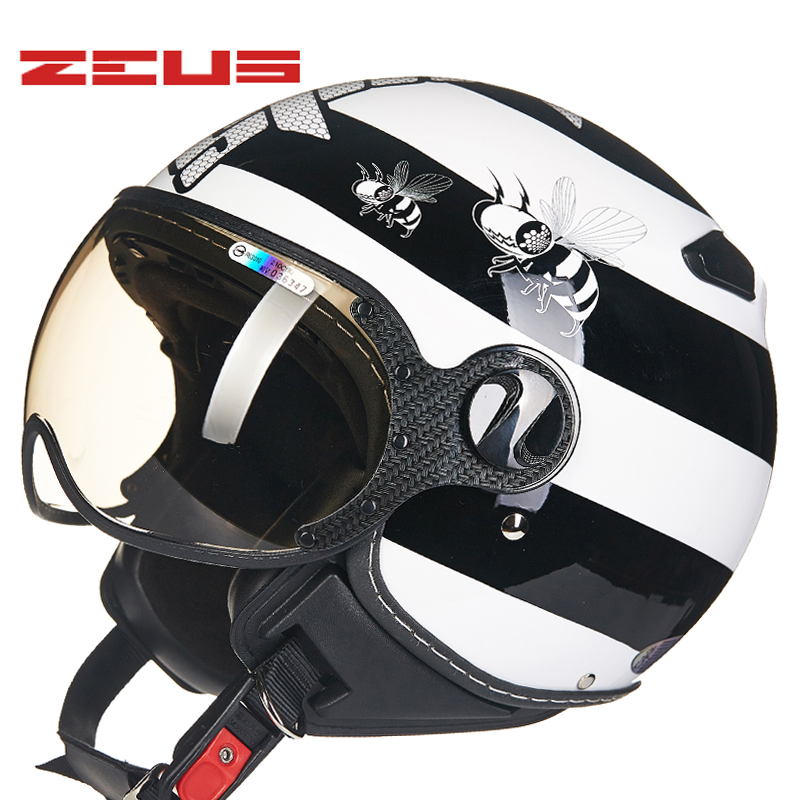 TAIWEN ZEUS Motorcycle Helmets Retro Vintage motorcycle half face helmet Motorbike Helmet 210C casque Moto for harley masei mens womens war machine gray ironman iron man helmet motorcycle helmet half helmet open face helmet abs casque motocross